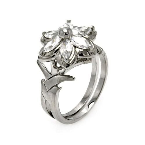 Wholesale Sterling Silver 925 Rhodium Plated CZ Flower Ring - STR00138