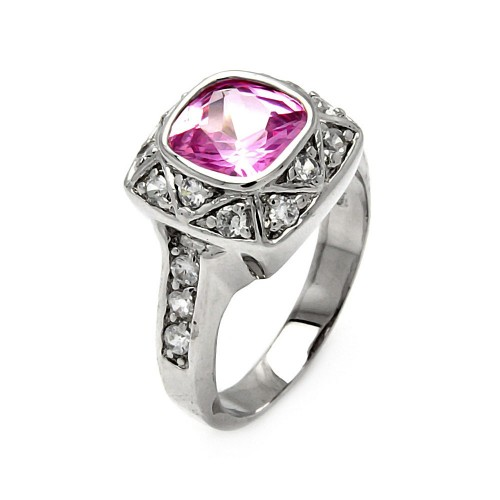 -Closeout- Wholesale Sterling Silver 925 Rhodium Plated Square Pink CZ Ring - STR00168