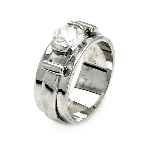 -Closeout- Wholesale Sterling Silver 925 Rhodium Plated Single CZ Belt Ring - STR00193