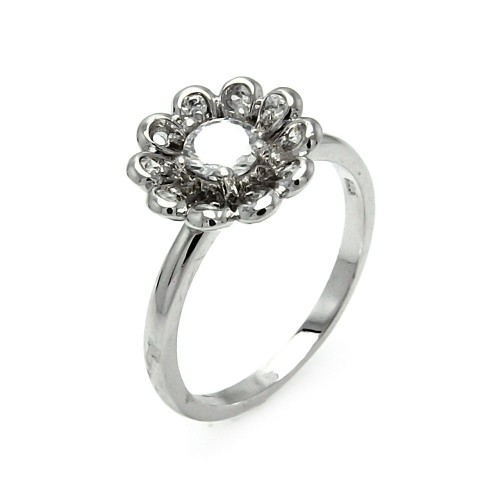 -Closeout- Wholesale Sterling Silver 925 Rhodium Plated CZ Flower Ring - STR00196