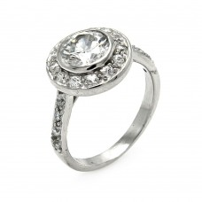 **Closeout** Wholesale Sterling Silver 925 Rhodium Plated Round Center CZ Ring - STR00212