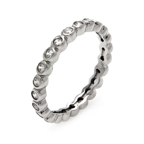 Wholesale Sterling Silver 925 Rhodium Plated CZ Stackable Eternity Ring - STR00215