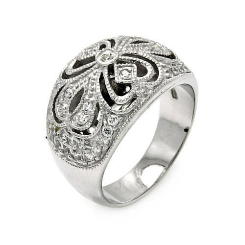 -Closeout- Wholesale Sterling Silver 925 Rhodium Plated CZ Flower Ring - STR00224