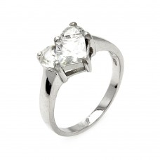 Wholesale Sterling Silver 925 Rhodium Plated Invisible Cut CZ Heart Ring - STR00230