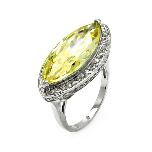 -Closeout- Wholesale Sterling Silver 925 Rhodium Plated Yellow Cat's Eye CZ Ring - STR00233YEL