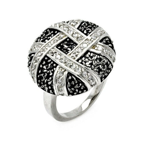 -Closeout- Wholesale Sterling Silver 925 Rhodium Plated CZ Flower Eternity Ring - STR00242