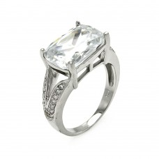 **Closeout** Wholesale Sterling Silver 925 Rhodium Plated Rectangular CZ Ring - STR00253