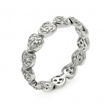 Wholesale Sterling Silver 925 Rhodium Plated CZ Stackable Eternity Heart Ring - STR00254