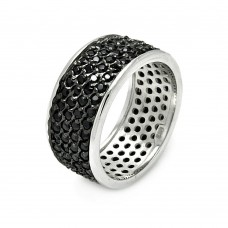 Wholesale Sterling Silver 925 Rhodium and Black Rhodium Plated Pave Set Black CZ Ring - STR00256BLK