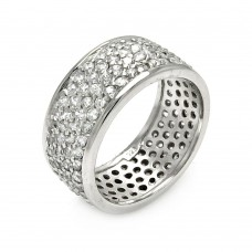 Wholesale Sterling Silver 925 Rhodium Plated Pave Set CZ Ring - STR00256