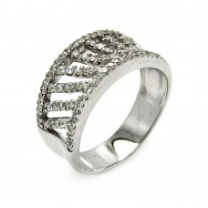 **Closeout** Wholesale Sterling Silver 925 Rhodium Plated Stripe CZ Ring - STR00264