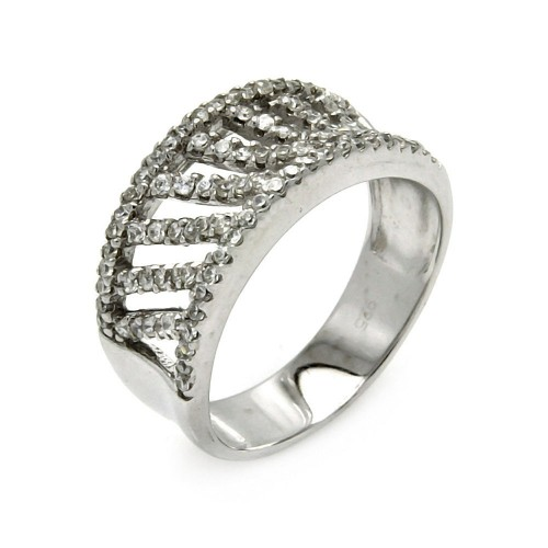 -Closeout- Wholesale Sterling Silver 925 Rhodium Plated Stripe CZ Ring - STR00264