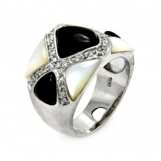 **Closeout** Sterling Silver Rhodium Plated Black Onyx Pearl CZ Ring str00276