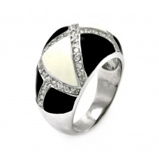 **Closeout** Sterling Silver Rhodium Plated Black & White Enamel CZ Ring str00278