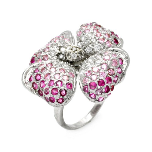-Closeout- Wholesale Sterling Silver 925 Rhodium Plated Pink CZ Clover Ring - STR00296