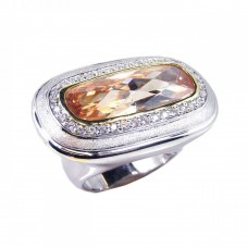 **Closeout** Wholesale Sterling Silver 925 Rhodium Plated Wide Champagne and Clear CZ Ring - STR00311