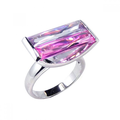 -Closeout- Wholesale Sterling Silver 925 Rhodium Plated Wide Rectangular Pink CZ Ring - STR00313
