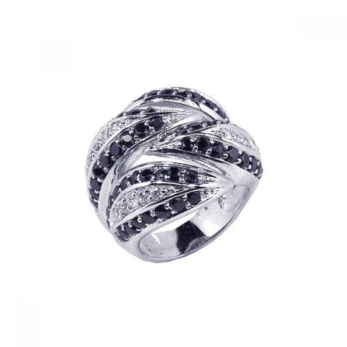 -Closeout- Wholesale Sterling Silver 925 Rhodium Plated Black and Clear CZ Interlocked Ring - STR00314