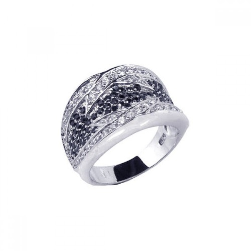 -Closeout- Wholesale Sterling Silver 925 Rhodium Plated Pave Set Black and Clear CZ Ring - STR00319
