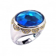 **Closeout** Sterling Silver Rhodium & Gold Plated Blue and Clear CZ Dome Ring str00323