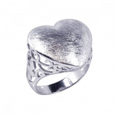 **Closeout** Wholesale Sterling Silver 925 Rhodium Plated Sand Blast Heart Ring - STR00326