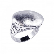 **Closeout** Wholesale Sterling Silver 925 Rhodium Plated Sand Blast Oval Ring - STR00327