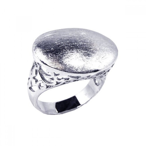 -Closeout- Wholesale Sterling Silver 925 Rhodium Plated Sand Blast Oval Ring - STR00327