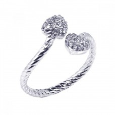 Wholesale Sterling Silver 925 Rhodium Plated CZ Adjustable Double Heart Ring - STR00328