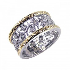 Sterling Silver Rhodium and Gold Plated Border CZ Tulip Flower Ring - STR00329