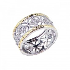 Sterling Silver Rhodium and Gold Plated Border CZ Flower Ring - STR00330