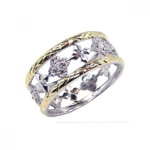 -Closeout- Wholesale Sterling Silver 925 Rhodium and Gold Plated Border CZ Flower Cross Ring - STR00331