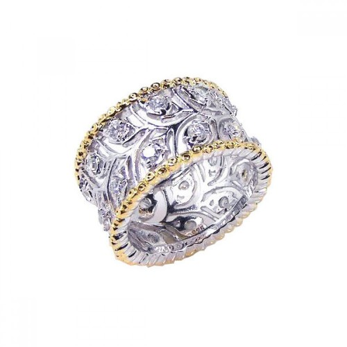 -Closeout- Wholesale Sterling Silver 925 Rhodium and Gold Plated Border CZ Flower Ring - STR00342