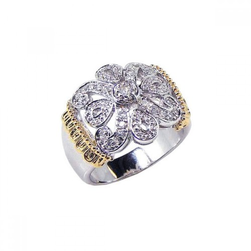 -Closeout- Wholesale Sterling Silver 925 Rhodium and Gold Plated CZ Flower Ring - STR00343