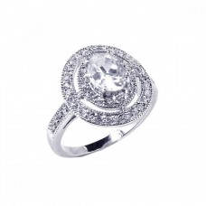**Closeout** Wholesale Sterling Silver 925 Rhodium Plated Round Center Cluster CZ Ring - STR00345
