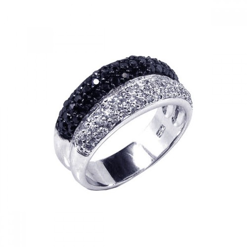 -Closeout- Wholesale Sterling Silver 925 Rhodium and Black Rhodium Plated Pave Set Clear and Black CZ Ring - STR00353