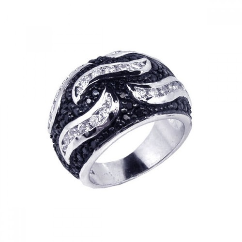 -Closeout- Wholesale Sterling Silver 925 Rhodium and Black Rhodium Plated Pave Set Black and Clear CZ Wave Ring - STR00354