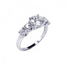 Sterling Silver Rhodium Plated 5 Set CZ Stone Ring str00361