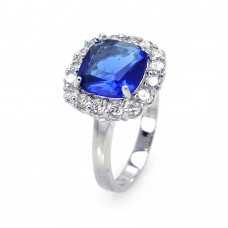 Sterling Silver Rhodium Plated Blue Center Clear Cluster CZ Ring str00381blu