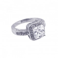 **Closeout** Wholesale Sterling Silver 925 Rhodium Plated Square Center Cluster CZ Ring - STR00401
