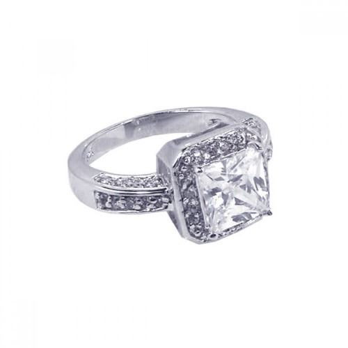 -Closeout- Wholesale Sterling Silver 925 Rhodium Plated Square Center Cluster CZ Ring - STR00401