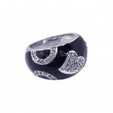 **Closeout** Sterling Silver Rhodium Plated Black Enamel Pave Set CZ Heart Ring str00402