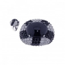 **Closeout** Sterling Silver Rhodium & Black Rhodium Plated Black Stone Center Clear CZ Ring str00433