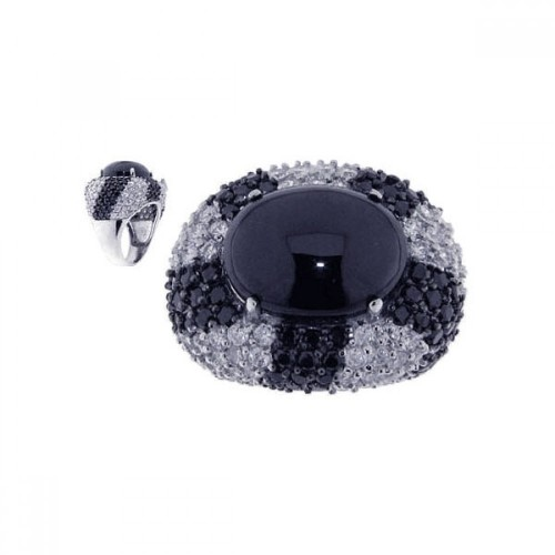 -Closeout- Wholesale Sterling Silver 925 Rhodium and Black Rhodium Plated Black Stone Center Clear CZ Ring - STR00433
