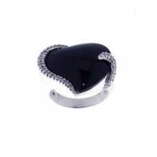 **Closeout** Sterling Silver Rhodium Plated Black Stone CZ Ring str00436
