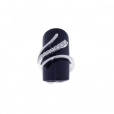 **Closeout** Sterling Silver Rhodium Plated Black Stone CZ Wrap Ring str00437