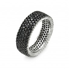 Wholesale Sterling Silver Rhodium and Black Rhodium Plated Pave Set Black CZ Eternity Ring - STR00448BLK
