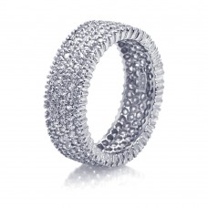 Sterling Silver Rhodium Plated Pave Set Clear CZ Eternity Ring - STR00448CL