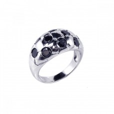 **Closeout** Sterling Silver Rhodium Plated Black CZ Dome Ring str00449