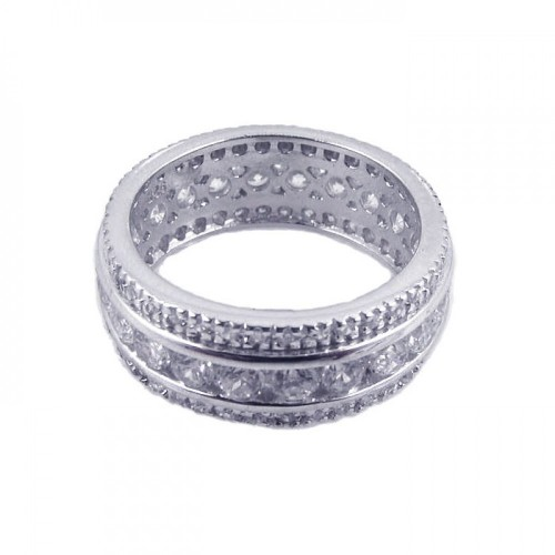 Wholesale Sterling Silver Rhodium Plated CZ Eternity Channel Ring - STR00450