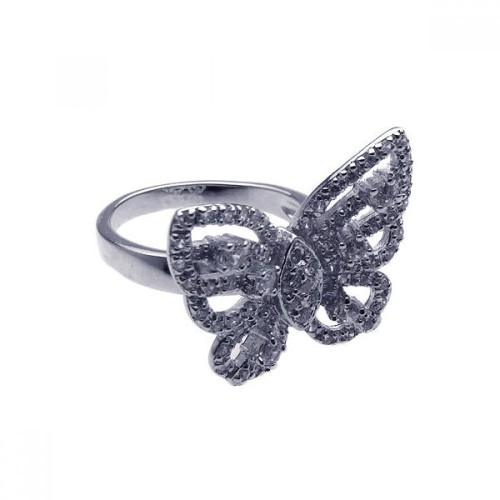 Wholesale Sterling Silver 925 Rhodium Plated Pave Set CZ Butterfly Ring - STR00451